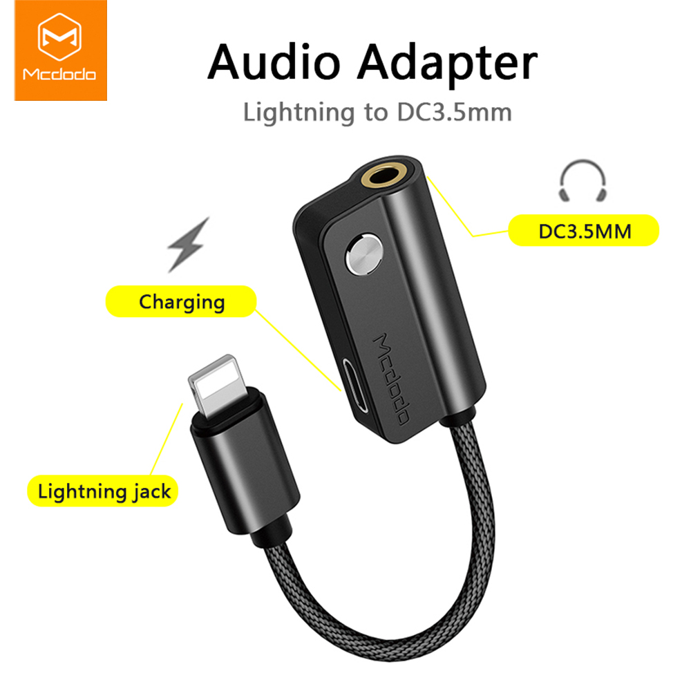 MCDODO Audio 2 In 1 Adapter For IPhone 7 8 Plus X Cable Splitter For IPhone To 3.5mm Jack With Charging IPhone Aux Cable IOS 11