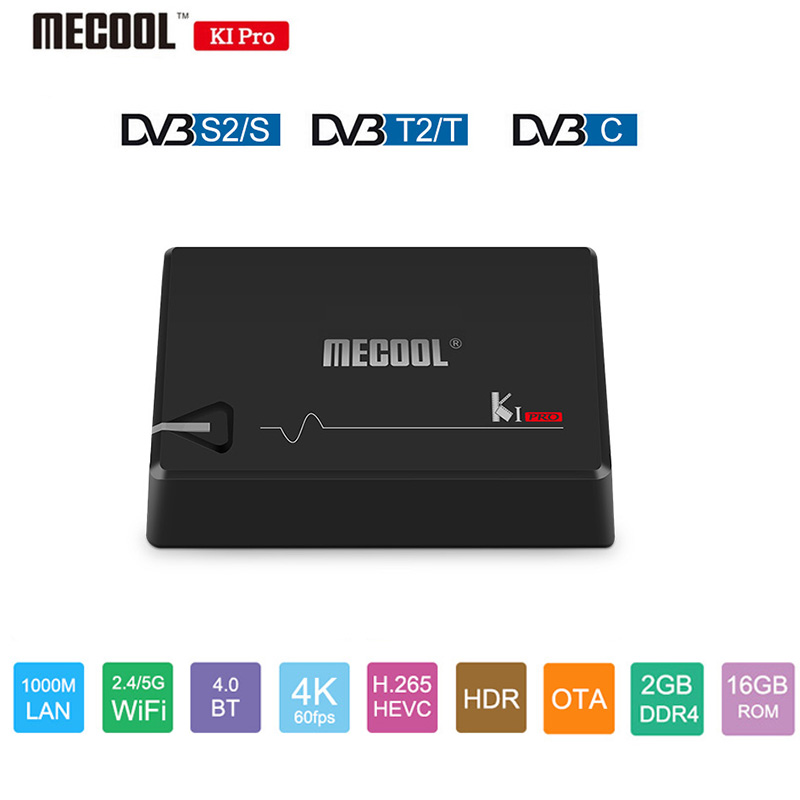 MECOOL KI PRO Android 7,1 Smart ТВ Box Amlogic S905D 4 ядра 64 бит DVB T2 S2 C 4 ядра 1000 м BT4.1 2G/16G Декодер каналов кабельного телевидения