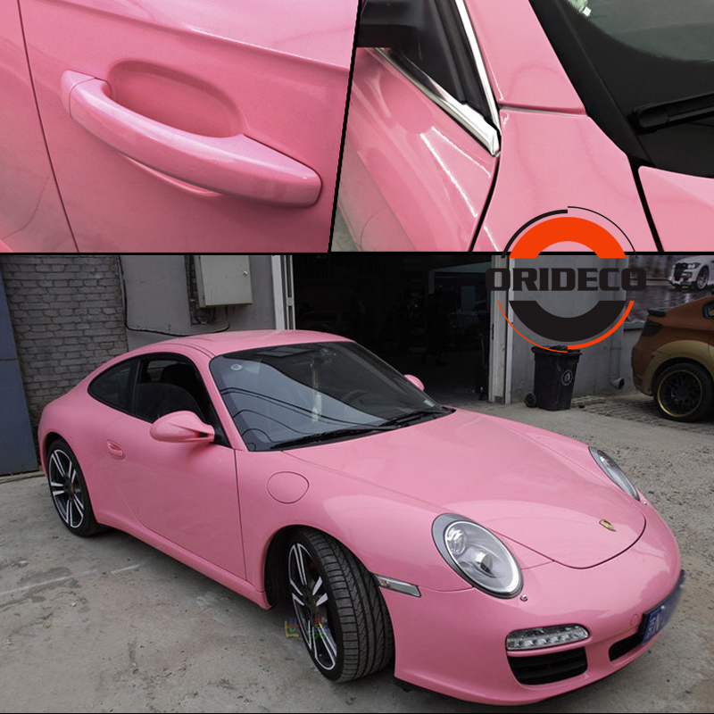 Pink Ultra GLOSSY Vinyl Wrap With 3 Layers High Gloss Shiny Car Wrap Film Graphic air