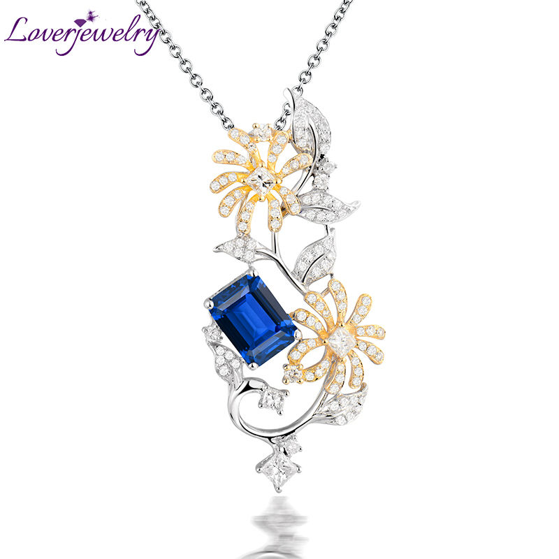 Solid 18K Multi-tone Gold Diamond Tanzanite Engagement Pendant Emerald Cut stone for Women Fine Jewelry WP070