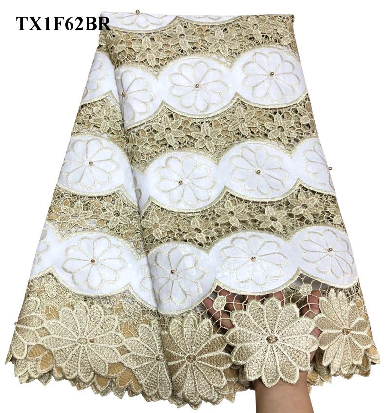 Embroidery Flower Pattern White Sequins African Guipure Lace Fabric High Quality African Water Soluble Cord Lace Fabric JW-007