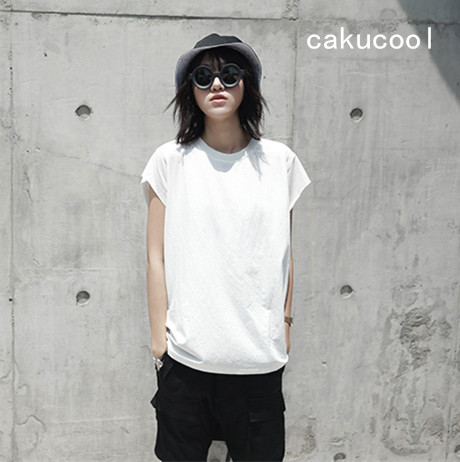 Cakucool New Women Summer Tee Shirt Harajuku Sleeveless Minimalist t shirt Basic Tees tshirt Tops Femme Black White Plus Size