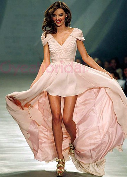 Miranda Kerr V Neck Cap Sleeves Chiffon High-low Short Celebrity Can be customized Pink Prom Party Gowns bridesmaid dresses
