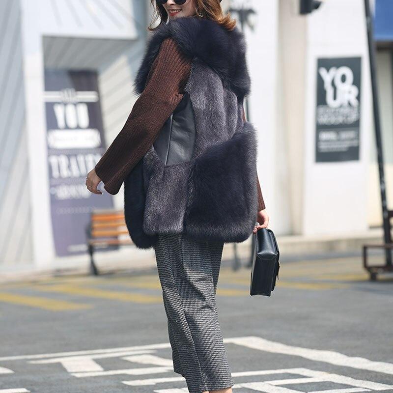 Mode Dames Femmes Fourrure Veste Gilets Zl563 Manteau Gilet Dark Réel Chaud 2018 Gray Femme Pour Manteaux Vêtements Nouvelle pink Renard D'hiver De Hiver qaWwrtaS