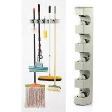 Kitchen Organizer 5 Position Mop Broom Holder Tool Wall Shelf Mounted Storage Hanger Bathroom Mop Broom Holder Organizing Tools