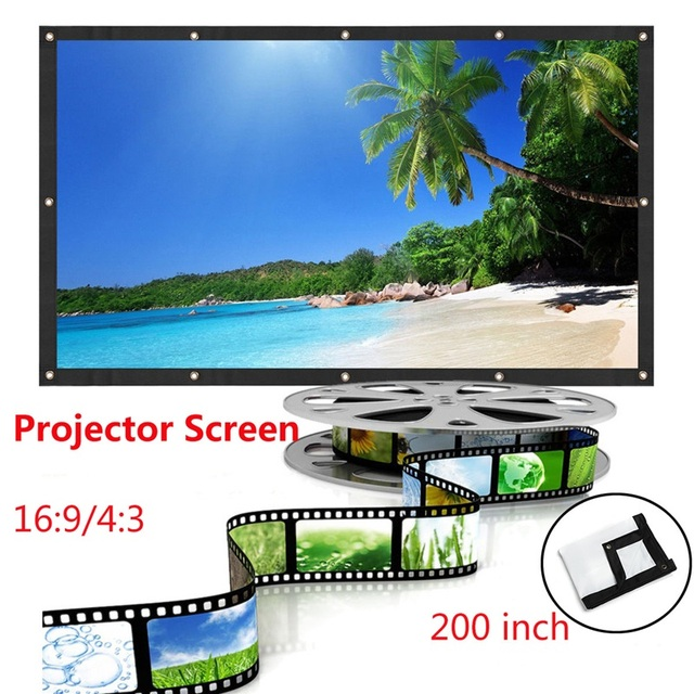LEORY 200 Inch 16:9 4:3 PVC Projector Screen Portable Projection Screen Giant Wall Screen For Wall Mounted Office Meeting Moive