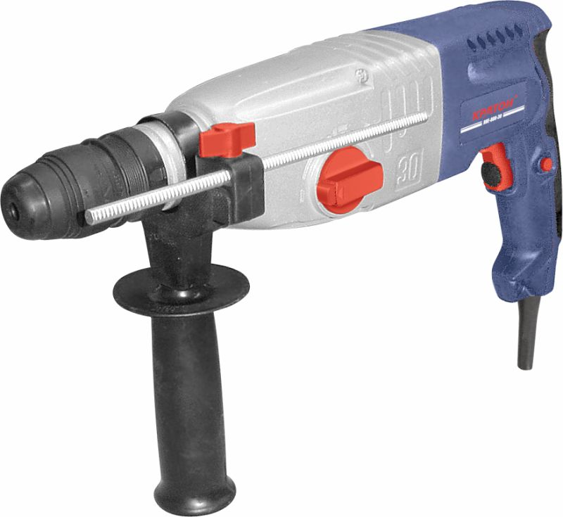 цена на Rotary hammer KRATON RHE-800-30FR 800W 0-780 rev / min 3.3 J. SDS + 30mm 3 modes metal gearbox + cartridge