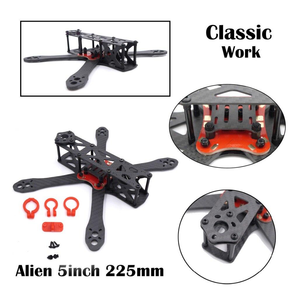 Alien FPV quadcopter pure carbon Fiber 225 225mm DIY cross racing mini drone 4mm * 1.5mm * 2mm better than QAV-X Martian II 220 diy mini drone fpv cross racing quadcopter pure carbon fiber owl250 frame alien qav250 quad