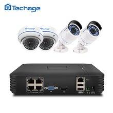 Techage plug and play 4CH 1080 P PoE NVR 2.0MP системы видеонаблюдения купольная IP Крытый Открытый Камера P2P ИК Полный HD комплект видеонаблюдения