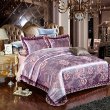 Luxurious Silk/Cotton Satin Jacquard Lace Bedding Set Duvet Cover Bed Linen Bed sheet Pillowcases Bedclothes King Queen 4pcs