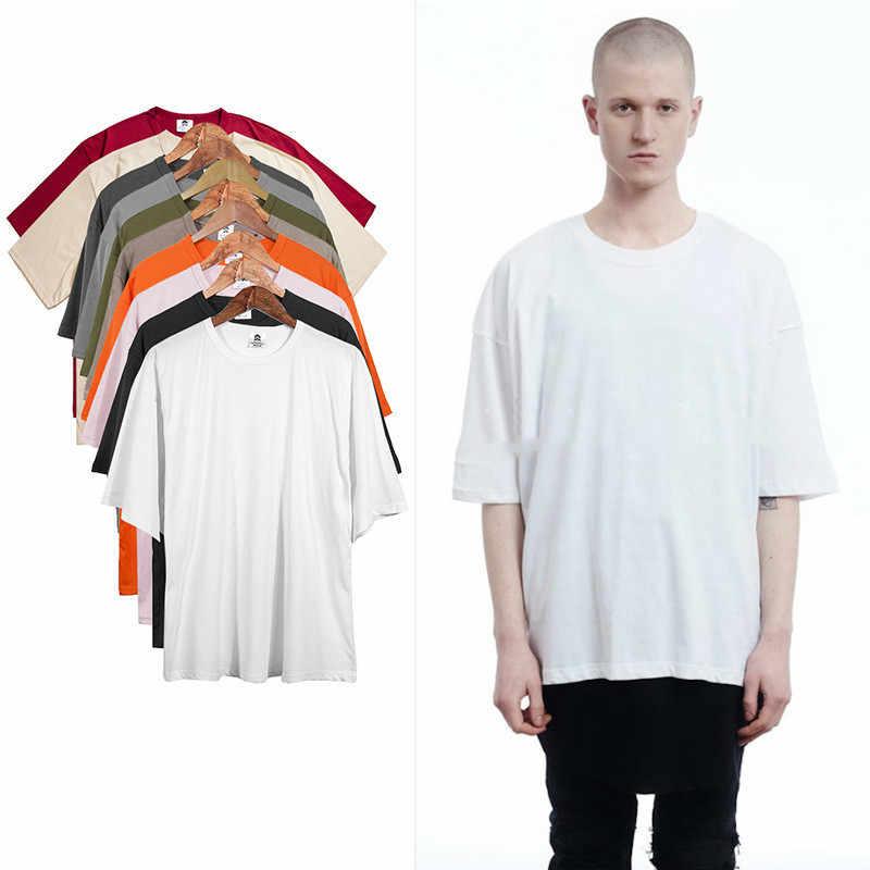 2018 новый бренд хип-хоп Однотонная футболка оверсайз Расширенная хип-хоп футболка хлопок плюс размер стрельчатая футболка хип-хоп Swag