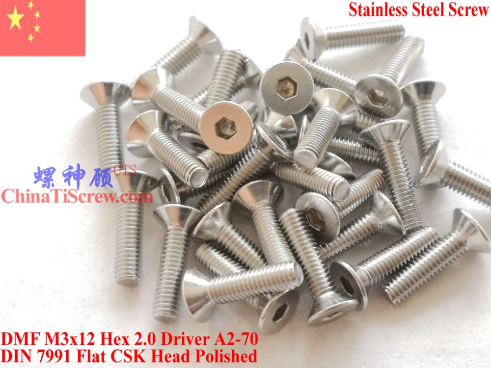 Stainless Steel screws M3x12 CSK Flat  Head DIN 7991 Hex Driver A2-70 Polished ROHS 100 pcsStainless Steel screws M3x12 CSK Flat  Head DIN 7991 Hex Driver A2-70 Polished ROHS 100 pcs