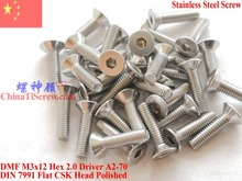 Stainless Steel screws M3x12 CSK Flat  Head DIN 7991 Hex Driver A2-70 Polished ROHS цена
