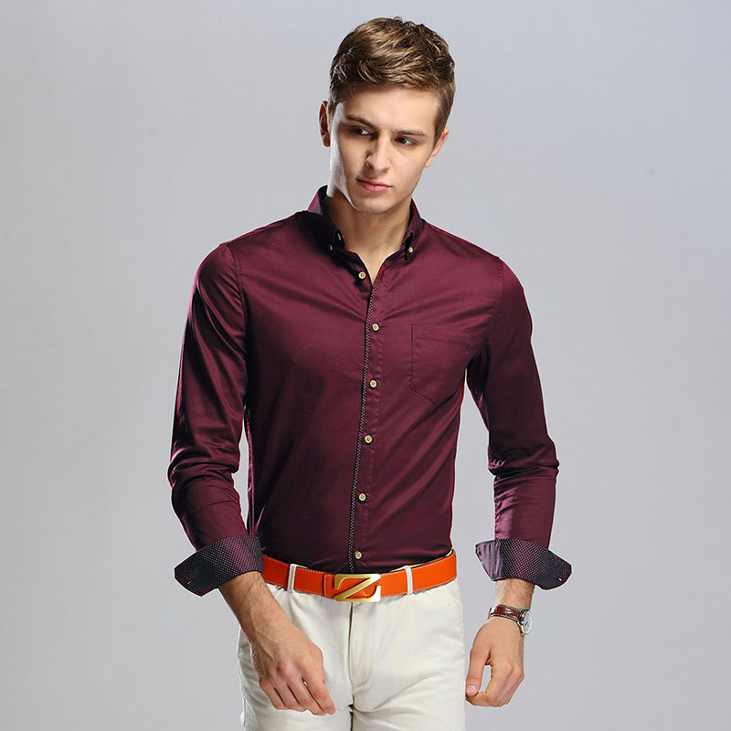 High Quality Autumn Trendy Fashion Mens Plain Shirt 100% Cotton Long  Sleeved Dress Shirts-in Casual Shirts from Menu0027s Clothing u0026 Accessories on  ...