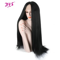 Deyngs Yaki Straight Braid Lace Front Wig 18 30 inch Long Women's Lace Frontal Wig Natural Black Color Synthetic Lace Fully Hair