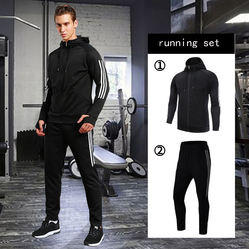 7a9608d4ad2 Men s Compression Run jogging Suits Coat Clothes Sports Set Long Jacket And  Pants Gym Fitness Workout Tights Clothing 2pcs Sets