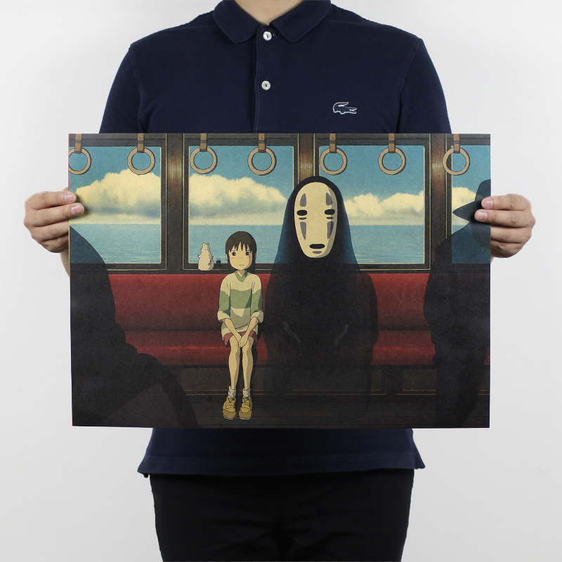 Free shipping,Spirited Away B/No Face man/classic Cartoon film/kraft paper/bar poster/Retro Poster/decorative painting 51x35.5cm