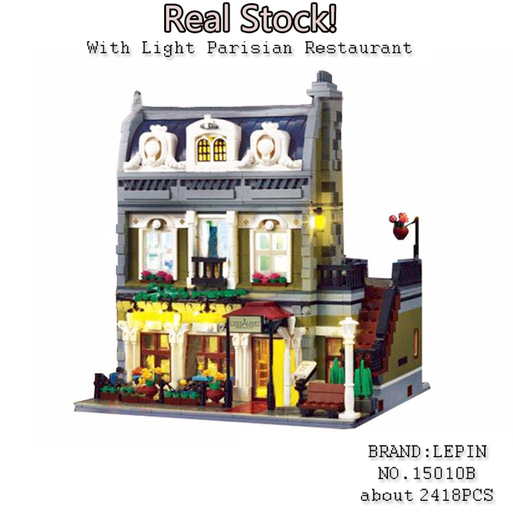 Lepin 15010 Creator Expert City Street Parisian Restaurant with Light Model Building Kits figures Blocks Toys Compatible 10243 new lepin 15010 expert city street parisian restaurant model building kits blocks funny children toys compatible with 10243 gift