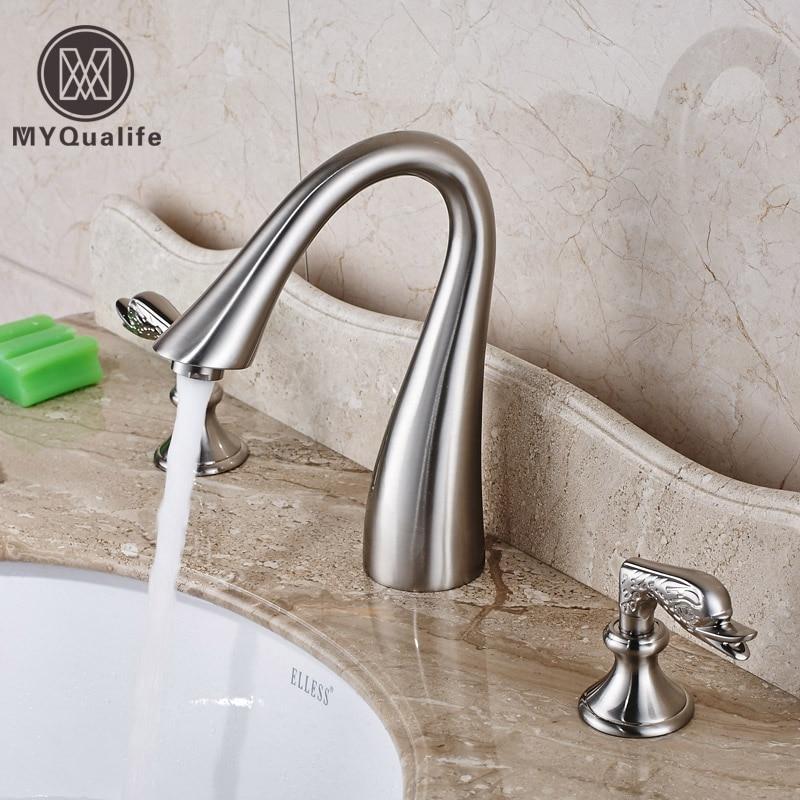 Goose Neck Bathroom Brushed Basin Sink Faucet Dual Handles Widespread Washbasin Mixer Taps nickel brushed bathroom basin sink faucet widespread dual handles mixer tap 3 holes