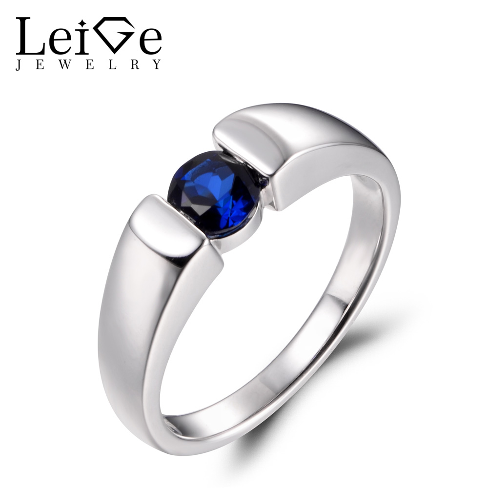 LeiGe Jewelry Blue Sapphire Promise Rings September Birthstone Round Shape Blue Gemstone Ring Real 925 Sterling