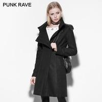 PUNK RAVE Nuovi Rivetti Collo Alto Cappotto Punk Inverno Dolcevita di Lana Della Tuta Sportiva Femminile Rock Femminile Nero di Medio-lungo Cappotto Donna cappotti