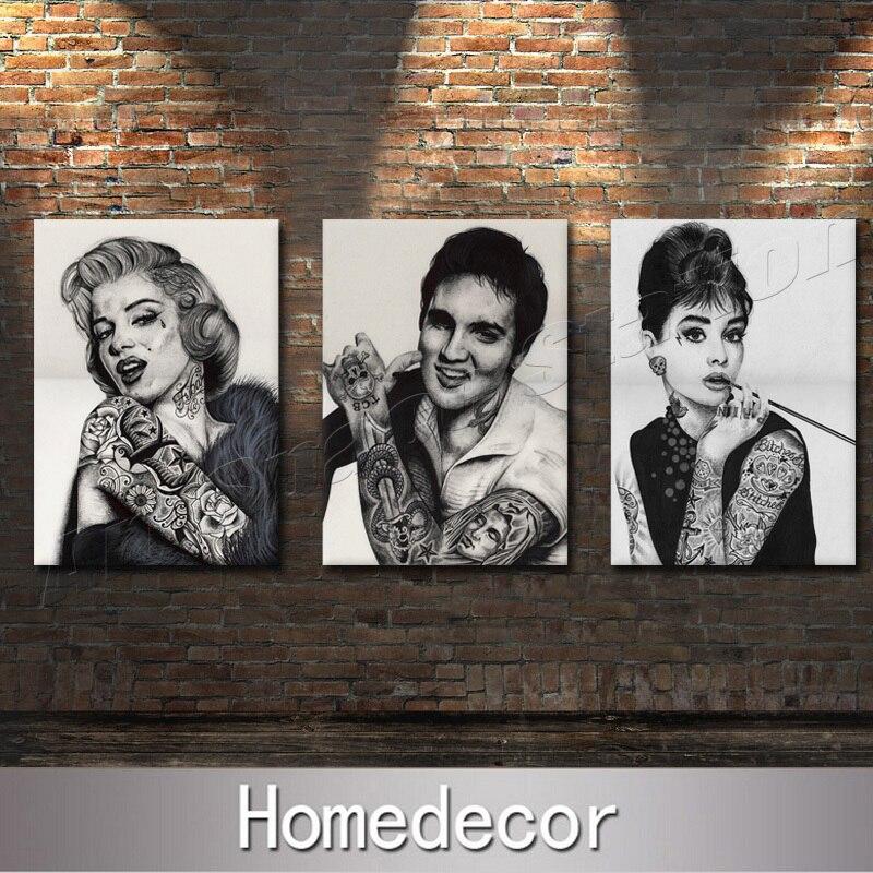 Tattoo Marilyn Monroe,Audrey Hepburn,Elvis Presley Portrait Painting ...