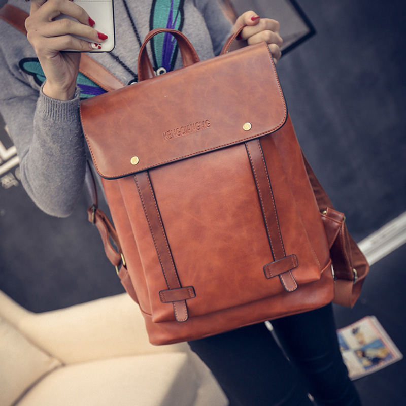 Brand PU <font><b>Leather</b></font> Waterproof <font><b>Backpack</b></font> Women Preppy Style Simple Design Casual Male Laptop <font><b>Backpack</b></font> Men Casual Daypacks Mochila image