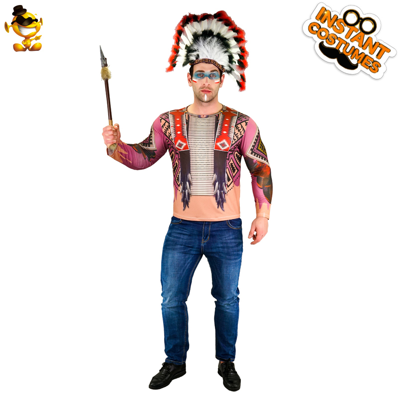 Vintage T-Shirt,Native American Warrior Fashion Personality Customization