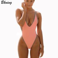 Bkning Thong Swimsuit   One     Piece   Swimwear Women Swimming   Suit   Female Bathing   Suit   High Cut Monokini Sexy Beach May Swim   Suits