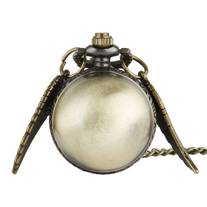 Retro  Ball Shaped  Quartz Pocket Watch Fashion Sweater Angel Wings Necklace Chain Gifts For Men Women Kids