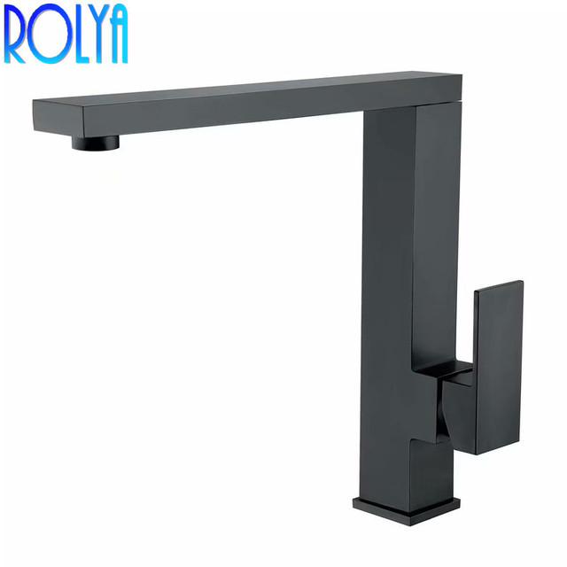 ROLYA Square Style Solid Heavy Brass Matte Black Kitchen Faucet Laundry  Sink Mixer Tap