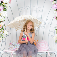 Handmade 2 Colors 3 Sizes Cotton Lace Wedding Decoration Bridal Parasol Umbrella Fashion Show Party High