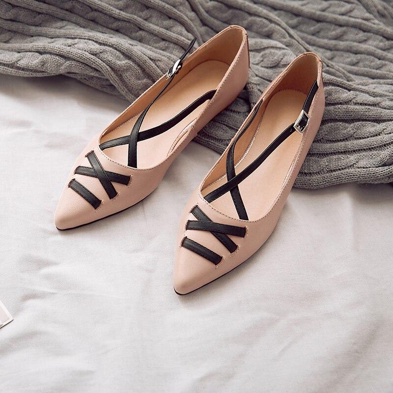 ФОТО Women's Genuine Leather Slip-on Ballet Flats Brand Designer Croos Strap Korean Style Pointed Toe Comfort Female Footwear Shoes