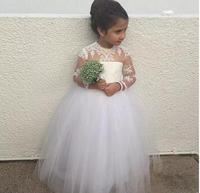 Lovely O Neck Long Sleeve Flower Girl Dresses Button Back Lace Floor length Girls Pageant Dresses First Communion Dresses