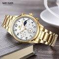 Megir Mens Cinta de Aço Inoxidável Relógios de Quartzo Cronógrafo Moda horas Calendário Data Vestido Relógio de Pulso para Homem 5007