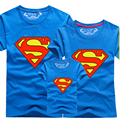 New 2016 Family Look Superman T Shirts Summer Family Matching Clothes Father Mother Kids Cartoon Outfits Family Matching Clothes