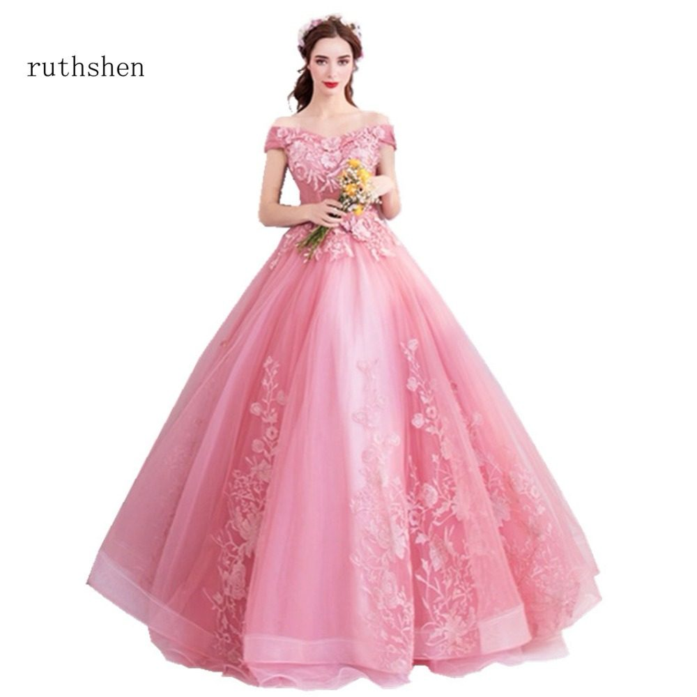 ruthshen Off The Shoulder Prom Dresses With Short Sleeves Long Tulle Beaded  Appliques Party Evening Dress 5c4015a9a81e