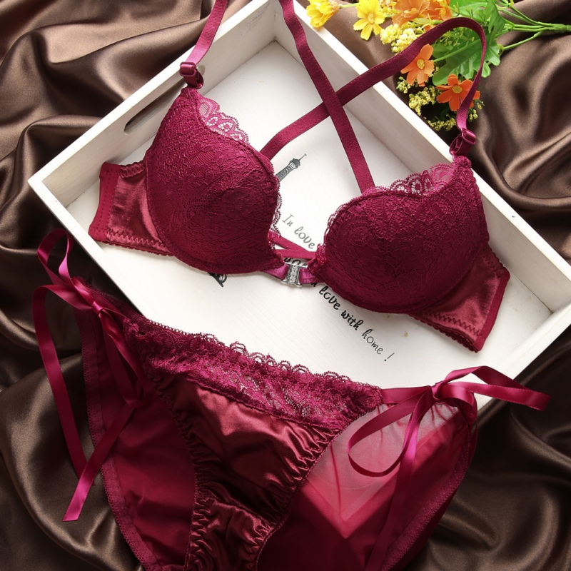 Fashion lace sexy thin deep V-neck push up underwear hot-selling vintage solid color   bra     set   Flank Wide
