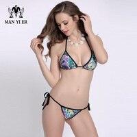 Stylish Multicolored Sexy Mini Thong Bikini Swimwear Halter Swimsuit Top Bottom Strappy Biquinii Bathing Beach Wear