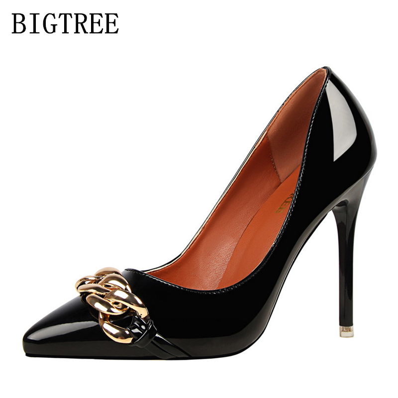 designer bigtree shoes luxury brand Chain high heels shoes woman patent leather ladies extreme high heels women shoes sexy pumps luxury brand crystal patent leather sandals women high heels thick heel women shoes with heels wedding shoes ladies silver pumps