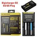 Original Nitecore D2 Display LCD Cargador de Batería Universal para 16340 18650 26650 AA AAA Recargable de Li-ion Baterías de Carga