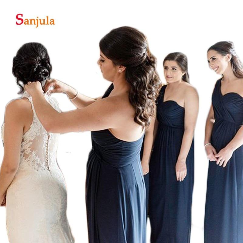 Leg Split Slit Chiffon   Bridesmaid     Dresses   2019 One Shoulder A-Line Navy Blue Wedding Guest   Dresses   robe fille d'honneur D361