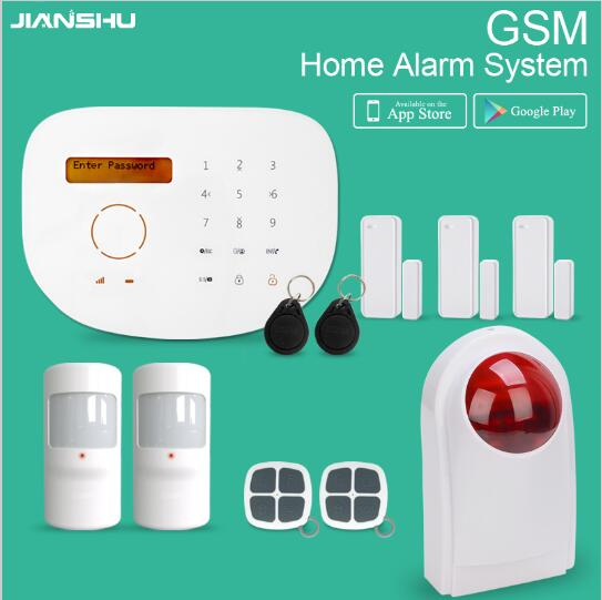 GSM Alarm System IOS Android APP Control SMS Home Security Alarm System with English Spanish Language Wireless Alarm автоматический открыватель двери oem sim gsm sms usb ac100 240v ios app at gsm dkeyac