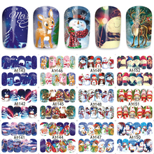 FWC 12pcs/Sheet Xmas Deer Snowman Water Transfer Nails Art Sticker Manicura Decal A1141-1152
