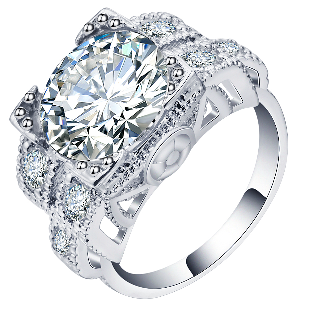 Ufooro Elegant Pave Cubic Zirconia Bridal Wedding Rings White Gold Filled  Jewelry Unique Women Engagement Rings