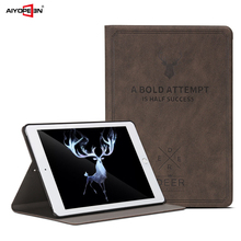 for ipad air air2 case deer skin pu leather smart wake up sleep flip stand full protect with small gift