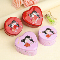10 Pieces Tinplate Round Love Heart Shape Wedding Candies Boxes Red Pink Romantic Groom Bride Candies