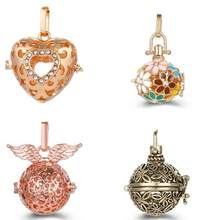Rhinestone Bird Cage Ball Caller Pendant For Pregnant Women Aromatherapy Essential Oil Locket Jewelry can put 16 or 18mm lava(China)