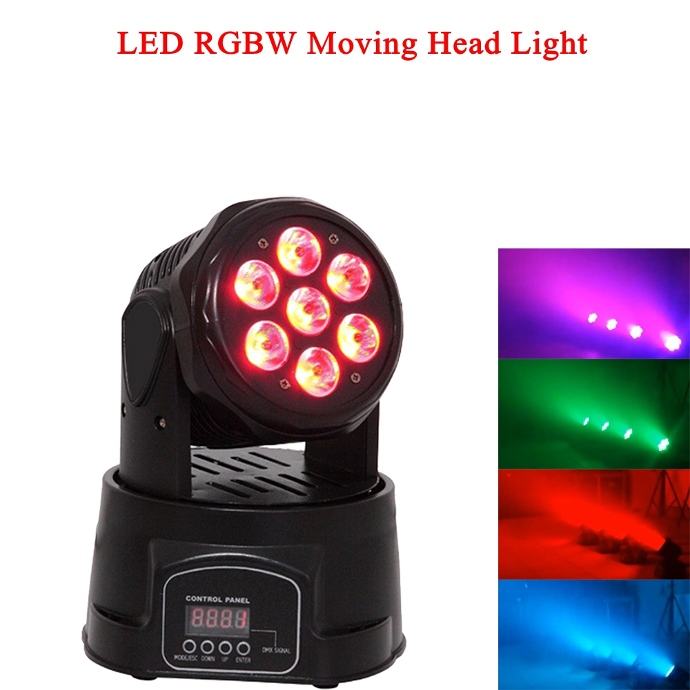 LED 7x10W RGBW 4IN1 Moving Head Stage Lights DMX512 Mini Laser Stage Lighting For Disco DJ Music Bar Party KTV  Night Light
