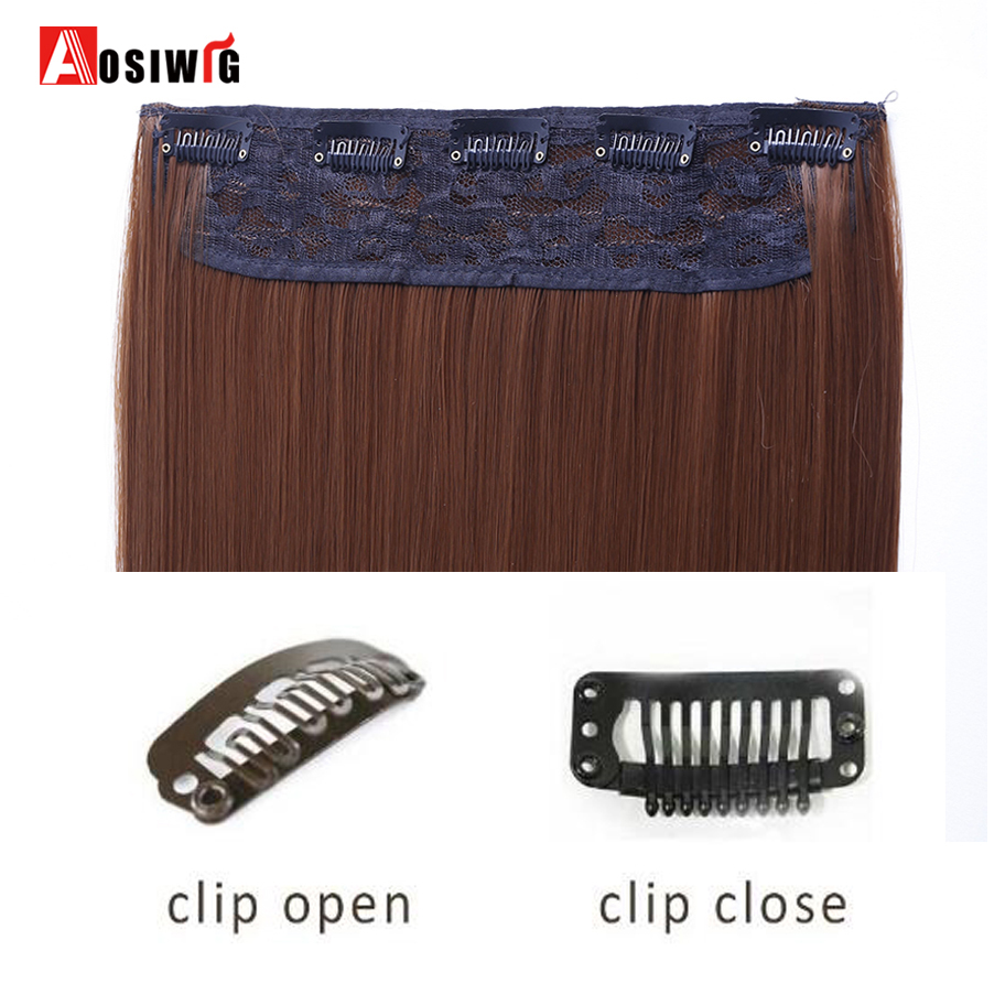 AOSIWIG Long Straight Hair Extensions 5 κλιπ σε ψεύτικο - Συνθετικά μαλλιά - Φωτογραφία 4